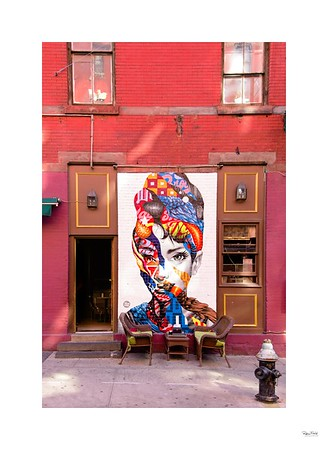 New York mural on cafe wall