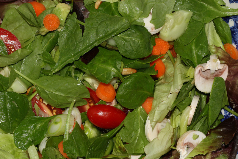 Grape tomatoes, feta, toasted pine nuts, baby greens, mushrooms, carrots, cucumber, scallion, dried cranberries (and love !)   ;-)