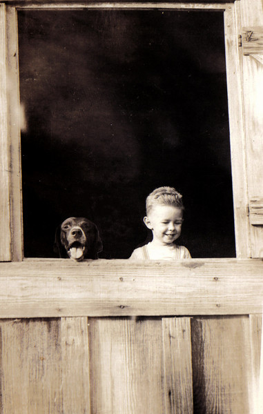 My father as a boy and his dog, a good hound dog, no doubt. It is his birthday next week and I miss him. I love this picture. Had dinner with my aunt tonight. (It was her birthday last week) So the Morrisons and their dogs is the theme