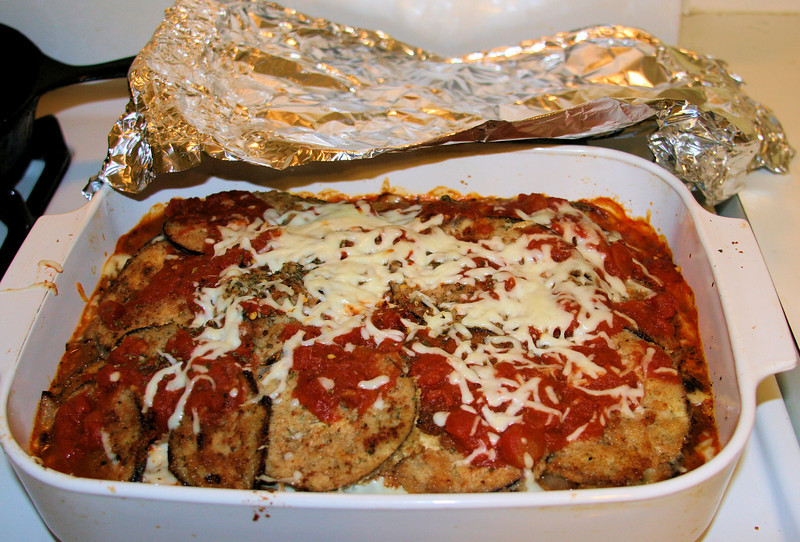 This MOST DELICIOUS eggplant Parmesan, made by my husband, is alas, no more than a memory.