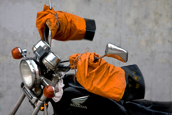 """""""Gloves"""" - Thu 31 Jan<br /> <br /> Last day of the month and i was thinking more about how to get my internet working at home, than taking pictures. However, on the way home with my Mac guru Francois, we passed this """"invisible guy on his motorbike. Lucky he at least had the gloves on..."""