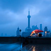 """""""Blue morning"""" - Sat 26 Jan<br /> <br /> Woke up 05.30 today and decided to go down to the Bund area, hoping for a nice sunrise. No sunshine today, but rain and 3 degrees or so... The bund was almost empty, me and a couple of older guys jogging. Everything cold and blue part from this small stall given some warmth to the scene."""