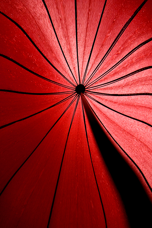 """Red umbrella"" - Tue 10 June  Rain continues to pour down in Shanghai (rainy season). Mika and me went for dinner, grabbing one umbrella each. Mine red umbrella was way cooler than his Batman umbrella, so a clear choice for today..."