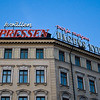 """""""Expressen"""" - Sun 30<br /> <br /> Mom, brother and sister came over for a days shopping i a very sunny Stockholm. Walked back to the hotel and passed this building with commercials for Expressen and Dagens Nyheter"""