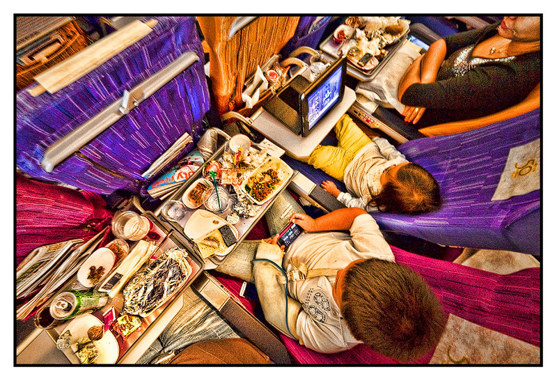 "Sat 28 Aug - In-flight entertainment<br /> <br /> So three weeks had to come to an end... TG 961 back to Bangkok, leaving at 14.30 and arriving 05.30 local time, means the kids fell asleep an hour or so before arriving. Really boring flight where we tried to enjoy the food (blah) and ""bring your own"" entertainment"