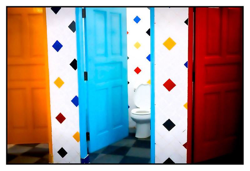 "Fri 29 Jan - Colorloo<br /> <br /> Week of meetings ended with board meeting today and tomorrow off to Koh Samui. No interesting pictures at ll today so just snapped one of the colorful washroom at the ""container restaurant"""