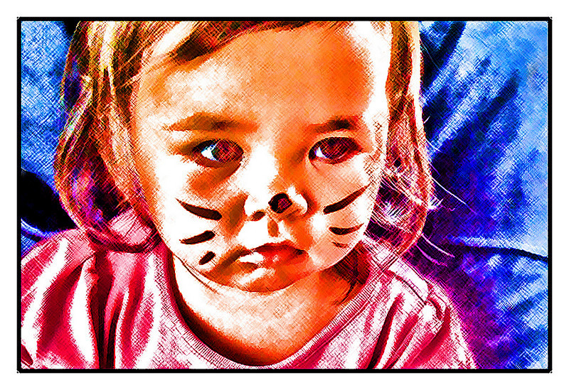 "Sat 24 July - Cats<br /> <br /> Decorating Mika's arm with some art today, and then took chance to make a small ""art"" kitten of Isabella as well..."