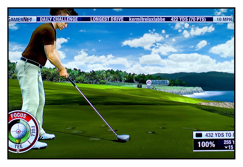 """Fri 30 July - Pebble Beach<br /> <br /> Late evening and no picture taken, so went out to find something to shoot and have a coffee at Starbucks. Nothing interesting worth showing and the coffee made me wake up for sure... So back home i started playing Tiger Woods PGA 2011 for a couple of hours : )<br /> <br /> Here my alter ego """"Rauno Korpi""""  teeing of at Pebble Beach, 23.52... Saved the """"shoot of the day"""" and also landed nicely on the fairway : )"""