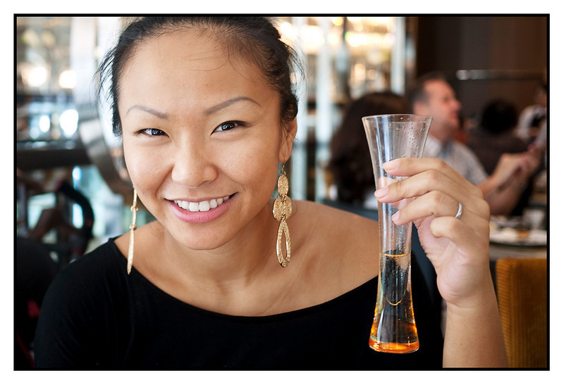 Sun 21 March - Champagne<br /> <br /> Sunday and champagne brunch at Intercontinental, with Eva, Michael plus Fredrik visiting from Japan. Jen happy having some bubbles after a morning at the gym...