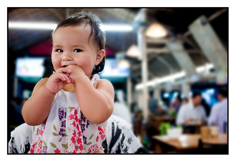 Isabella happy at local Thai restaurant