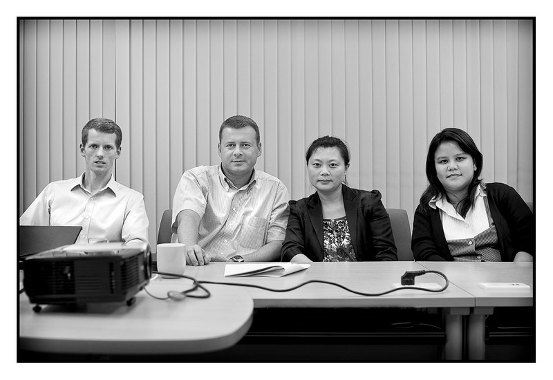 """Thu 9 Sep - The Verdict<br /> <br /> Three days of People Management Review of my organization in South East Asia had a final day today, with the team presenting the report of their findings. Tomas (Sweden), Sebastien (France), Janet (China) and Charuwan (Thailand) came to the conclusion that we have done a lot since last review two years ago, but still lot to do... : )<br /> <br /> No surprises really but very helpful for us going forward, so thanks a lot to the team (and they look much happier than this normally as i told them to look a little """"serious"""" for this shoot)"""
