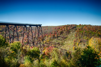 The former Kinzua Bridge in Pennsylvania is pretty interesting place. It was used up until 1950's for commercial traffic. In the 1970's is was reborn as a State Park. A tornado destroyed much of it in 2003 only to be reborn again as a Skywalk. A must visit when in the Allegheny area.