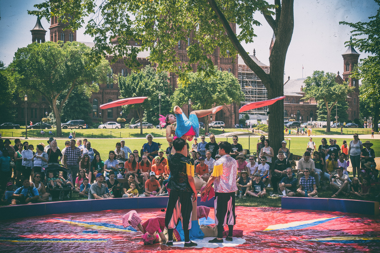 The Folklife Festive opened today!. Here are some aerial arts doing a demonstration