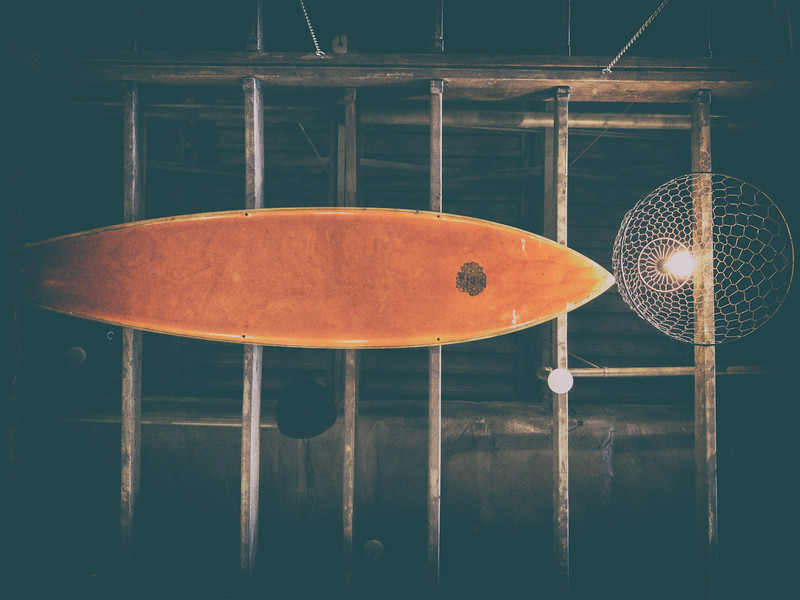 Hula Girl in Shirlington has a lot of character and really good food. The ceiling is full of surfboards