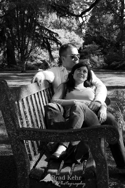 Couple on a Park Bench. An engagement shoot - Portland, Oregon.