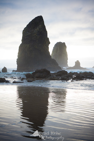 Cloudy day at Cannon Beach, OR.