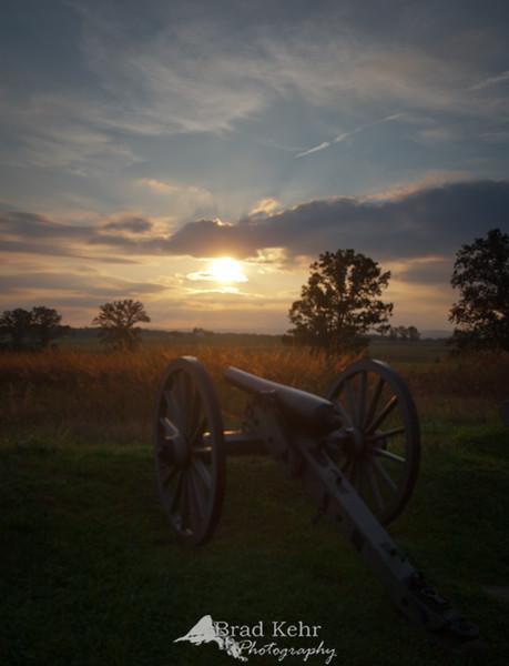 Gettysburg National Battlefield at sunset - Gettysburg, Pennsylvania.
