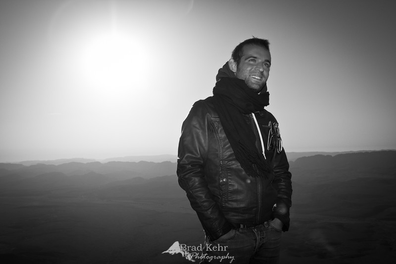 Sunrise in the Negev Desert. Shot with a single speedlight on hot shoe to counter the sun.