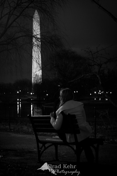 Bench in the park - Washington Monument - Washington, DC.<br /> <br /> Testing night lighting and creative ideas.