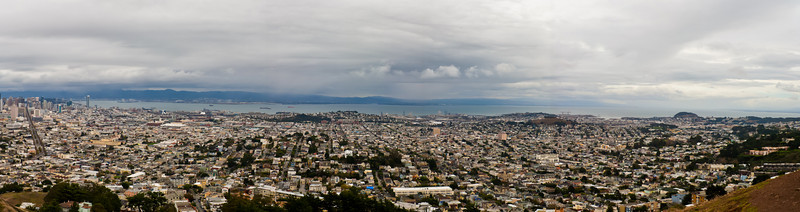 This panorama was taken from Twin Peaks. I hadn't been there (at least with my gear) and decided to attempt a panorama. The skies were really overcast and light directionality give me fits. I'll come back here on a better day. (Actually had 7 shot pano going, but the light didn't play nice). Fun drive up there though :). Shot technicals: Hand held, 17-40mm L F4, Warming Filter