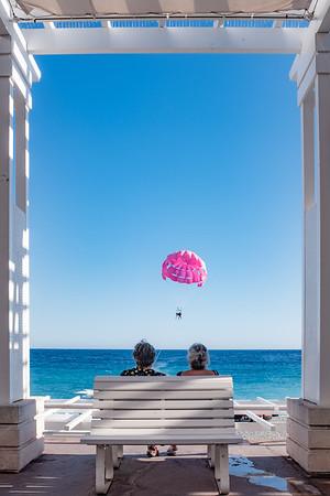 The pink paraglider