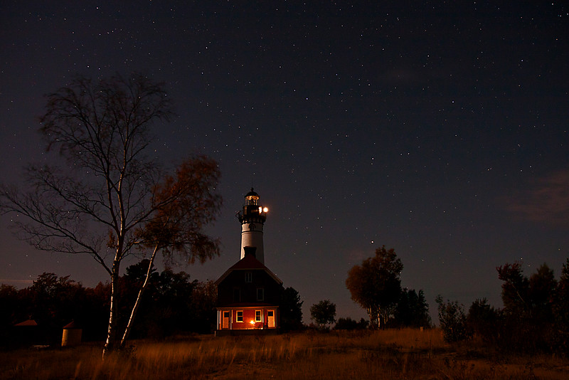 Sable Point Lighthouse under the stars