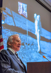Buzz Aldrin speaks at the Beckman Center, on the UCI campus.