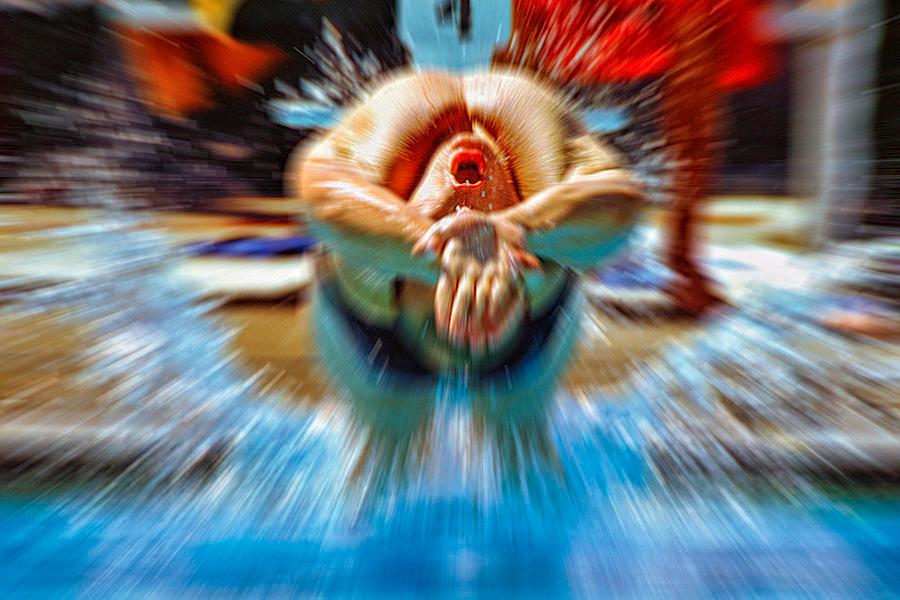 Backstroke start blur