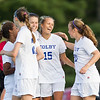 Georgia Lubrano and Catherine McClure, of Colby College, in a NCAA Division III soccer game on September 10, 2014 in Waterville, ME. (Dustin Satloff/Colby College Athletics)