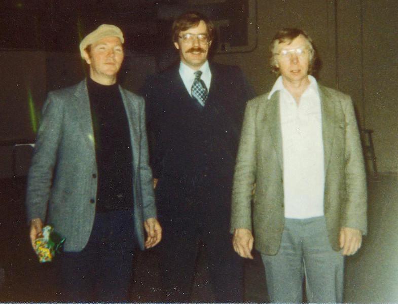 1986 Liam Clancy, Jim Larkin & Tommy Makem backstage at Brockton High School.