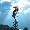 John Bunting of Pensacola shares seahorse public art from a bluff overlooking Mobile Bay in Fairhope.