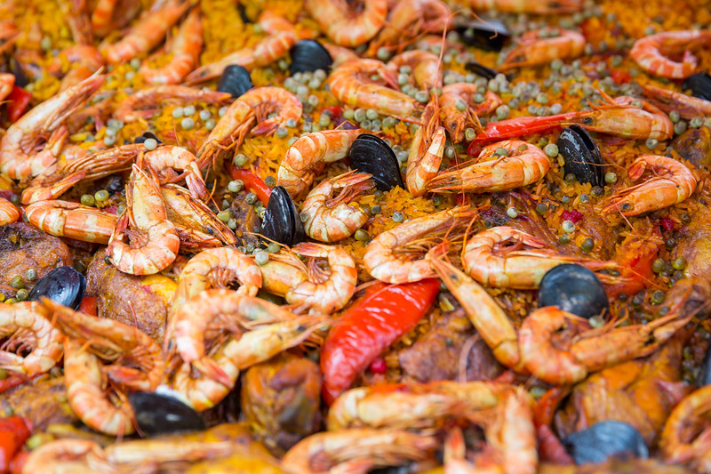 Spanish paella pan with seafood