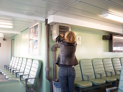 Adjusting the air on the ferry
