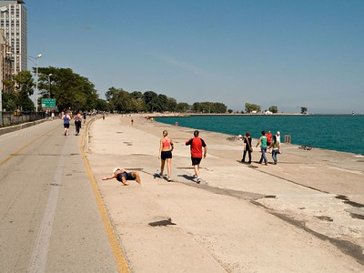 We visited Oak Street Beach, Chicago