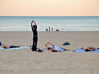 Yoga on Lake Michigan