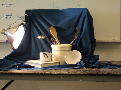 Still life setup for my third drawing class.