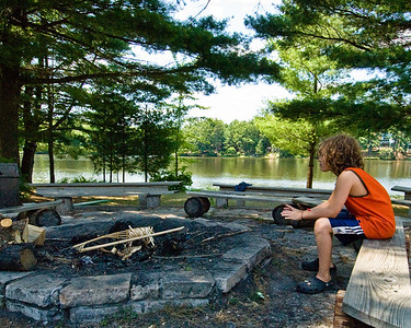 We took Jacob, Julia and Abigail to a La Dor Va Dor (From Generation to Generation) weekend  in Wisconsin. Here, Jacob contemplates the coming joys of the weekend.