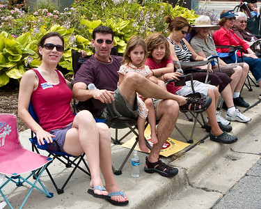 Lisa, Andy, Abigail and Jacob wait for the the July 4th parade