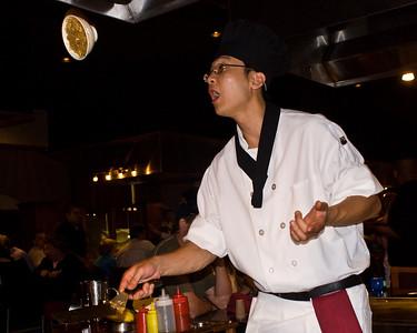 The server at Tsukasa performs tricks
