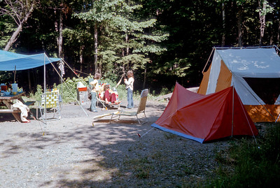 July 4th weekend 1978 - North Lake in the Catskills, New York After the communal air mattress of 1977, we bought an orange and white tent for ourselves, a red pup tent for the kids, and a blue dining fly. We all slept well and kept dry.