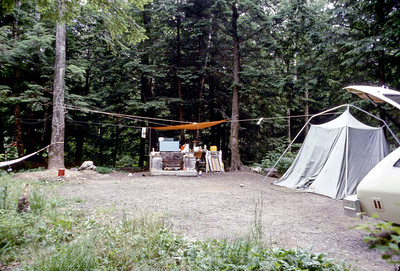 "July 4th weekend 1977 - North Lake in the Catskills, New York We borrowed a 9x9 tent and an air mattress, and all four of us slept in the tent, on a single air mattress. The combination of the family induced rocking mattress, over indulgence at dinner, and the wind blowing through the trees led to sea-sickness. We arose at 3 am and walked around for a while, singing ""Plop, Plop, Fizz, Fizz, O what a relief it is."" It seemed to help."