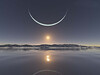 Sunset at the North Pole with the moon at its closest point