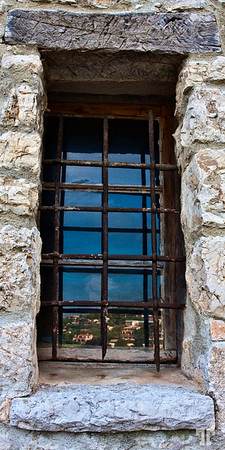 4 June 09  Reflection of Eze village on a window of the medieval castle - South of France, Côte d'Azur - Eze, Côte d'Azur  (French Riviera)