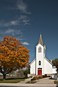 A beautiful country church in NE Iowa with some good fall color and clear blue sky