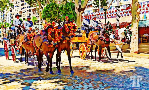Spanish May Day fair in Sevilla, Andalucia, Spain - Digital painting