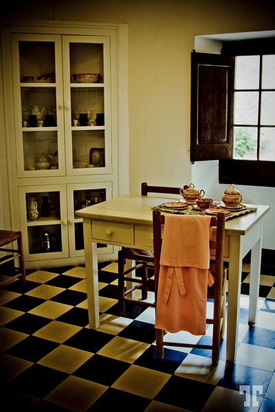 Breakfast room at Gala Dali's Castle in Púbol, Catalonia, Spain.<br /> <br /> - The Gala Dalí Castle in Púbol, open to the public since 1996, allows visitors to discover a medieval building in which Salvador Dalí lent material form to an exuberant creative effort with his mind set on one person, Gala.