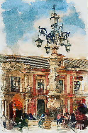 Small plaza Seville, Spain watercolor