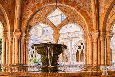 Medieval water fountain at Poblet Monastery, Spain