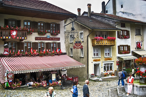 Gruyere village and restaurants