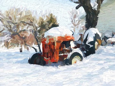 red-tractor-in-snow-paint-abstract